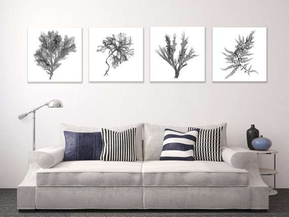 Large canvas wall art set black and white botanical prints of Black and white canvas art