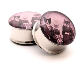 Cat Family Picnic Picture Plugs gauges - 1 1/8, 1 1/4, 1 3/8, 1 1/2 inch