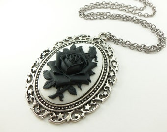 Large Black Rose Cameo Pendant Black and White Gothic Victorian Antiqued Silver Statement Necklace