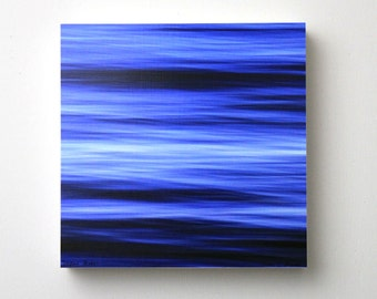 Bright Blue Ocean, Abstract Water, Seascape, Nursery Art, Beach Decor, 8X8 Square Wood Panel,  Ready to Hang, Wall Art