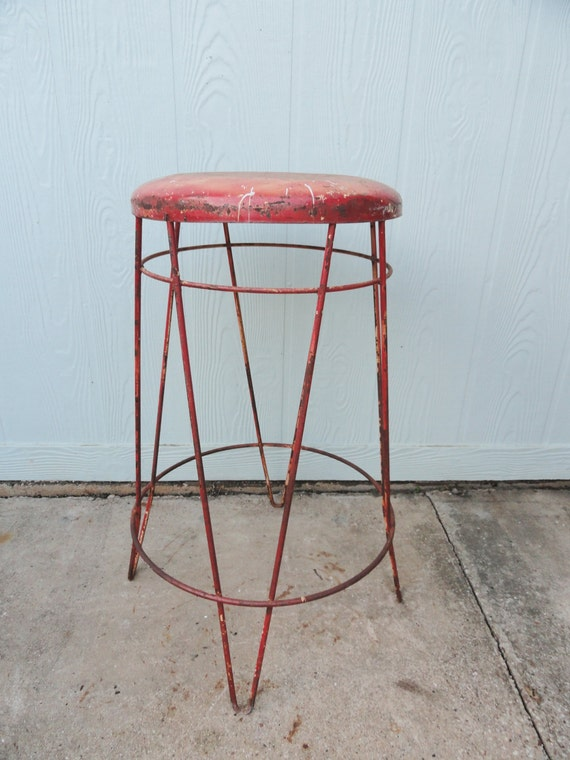 Vintage Industrial Stool Metal Hairpin Legs Mid Century Red