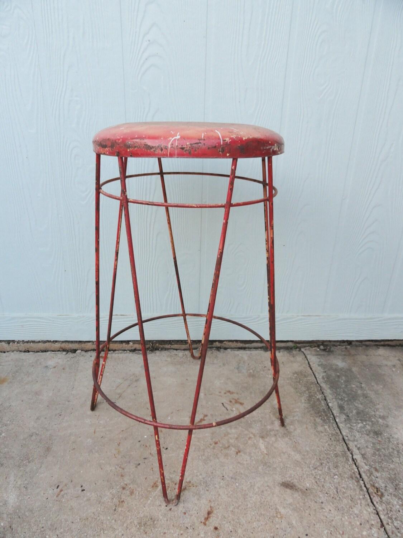 Vintage Industrial Stool Metal Hairpin Legs Mid Century Red