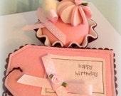 GORGEOUS FELT food strawberry cake and gift tag set