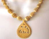 Hand carved Faux Ivory Vintage Tribal Necklace Bone Beads