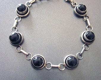 Sterling Silver Vintage Link Bracelet Onyx Black Stone Jewelry