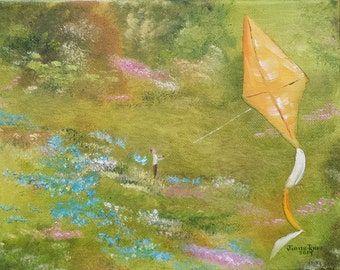 Oil painting kite landscape original hobby play country field flowers meadow impressionsim whimsical canvas art USA 8x10 - Clear Air Flight