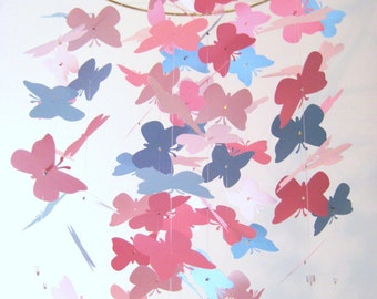 Pink and Blue Butterfly Nursery Mobile Baby Crib Mobile