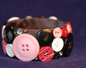 Pink , Red , and White Button Bangle