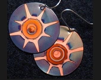 Round copper earrings, oxidized, blue copper jewelry