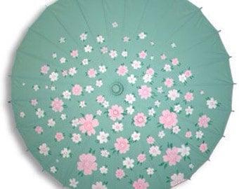 Custom Painted Nylon Parasol, Wedding Parasol, Costume Parasol
