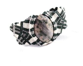 Peace Stone Micro Macramé Chevron Bracelet