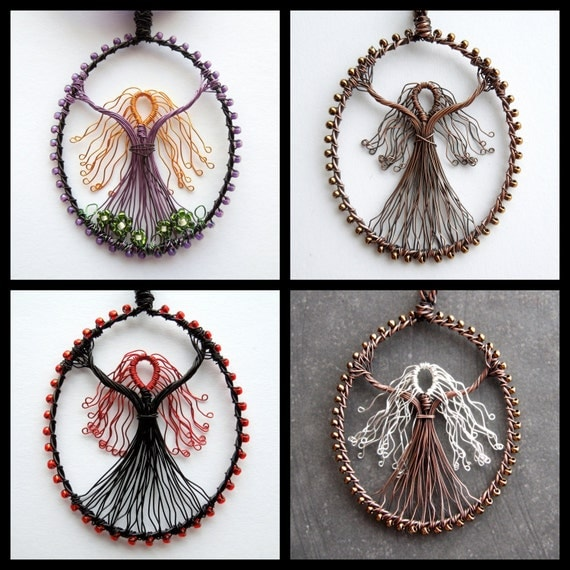 Custom wire goddess pendant unique design made to order