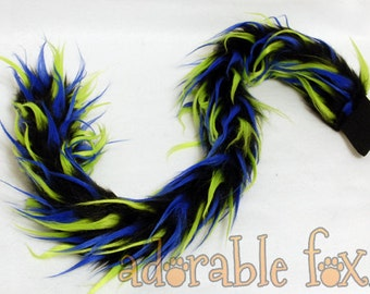 Faux Fur Kitty Cat Tail - Tri-color Green / Blue / Black - Cosplay / Furry / Costume