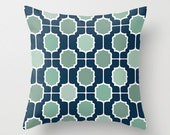 Navy and Mint Moroccan Geometric POPULAR FABRIC Throw Pillow Cover Case 16X16 or 18x18 Or 20x20 Hidden Zipper