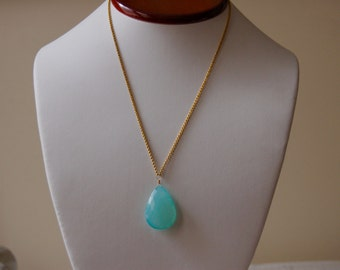 Aqua Blue Chalcedony, 14k Gold Fill and Vermeil Necklace