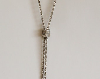 Rhinestone Rings , Lariat Antique Silver Rope Chain Necklace
