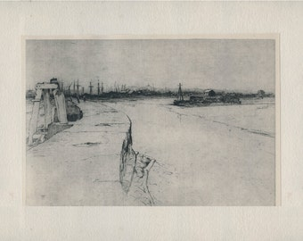 Low Tide, Evening Star and Rye's Long Pier Deserted, Kent Plate 2 1925, Vintage Print from Etching by Sir Frank Short
