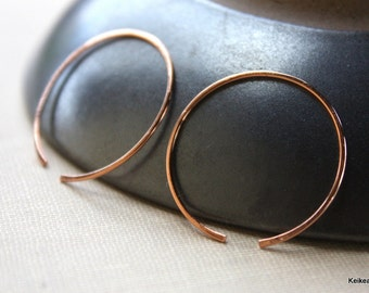 Copper Hoop Earrings One Inch Round Open Circle Handmade Jewelry