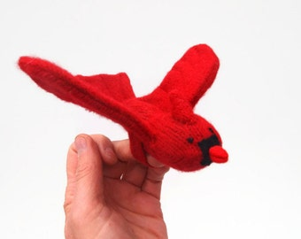Cardinal, bird puppet, waldorf toy, all natural toy, eco friendly toy, red bird, Christmas bird, waldorf bird puppet