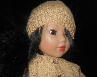 American Girl Bitty BabyHoliday Gold Sweater knitted in Vanna White Yarn 18in and 15in doll