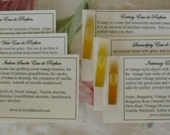 NATURAL Perfume Oil Samples Set of 3 Natural Perfume Sample More Life Collection JoAnne Bassett oakmoss perfume smoky perfume oud oakmoss