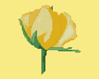 Yellow Rose Cross Stitch Pattern PDF Digital Download