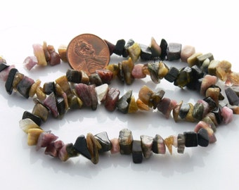 Multi Tourmaline Gemstone Chip Beads Full Strand