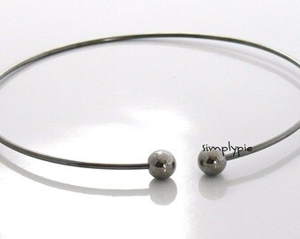 Gunmetal Make Beaded Bangle Bracelet Nickel-Free with Screw-On Round Beads