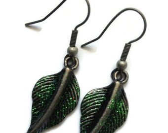 Leaf Earrings, Dangle, Green, Glitter, Sparkle, Metal, Metallic, Dipped, Glazed, Emerald, Evergreen, Fall, Autumn, Fresh, Lush, Pewter