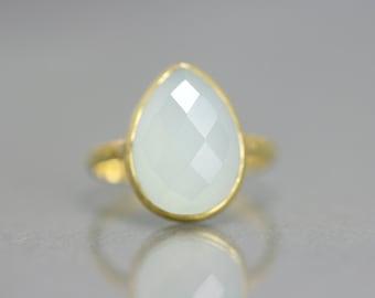 SALE - Pear Cut Gemstone Ring - Aqua Gemstone Ring - Drop Cut Ring - Gold Sale Ring - Minimal Gold Ring - Crystal Gemstone Gold Ring