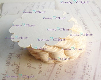 "35 Scalloped Circle Tags Size 2"" in Non-textured or Textured Cardstock paper"
