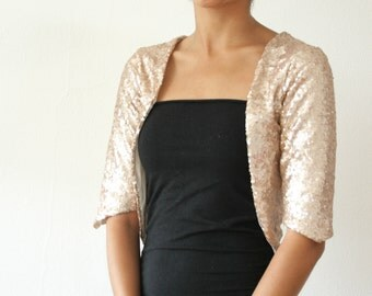 Champagne Gold Bolero, Wedding Bolero, Sequin Gold Bolero Shrug, Sparkles, Vintage Feel, Romantic, Gold Sequin Bolero, Cardigan - SALLY