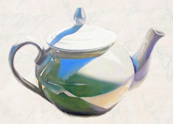 Art Print porcelain TEAPOT From Original Oil Painting, Still life series. Original teapot still life painting. Teapot ART. Kitchen painting.