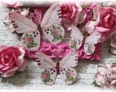 Fuchsia Bloom Butterfly Embellishments for Scrapbooking or Cardmaking, Tag Art,  Mixed Media, Mini Albums