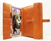 "PERSONALIZED Hermes Tangerine/Orange Mac Air 13""/ Pro 13"" Retina Portfolio & Card Case / File Folder. Italian Napa Leather. HANDMADE. UNIQUE"