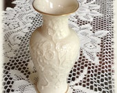 Lenox Vase China Ming Blossom Collection Vase Ivory and Gold Bas Relief