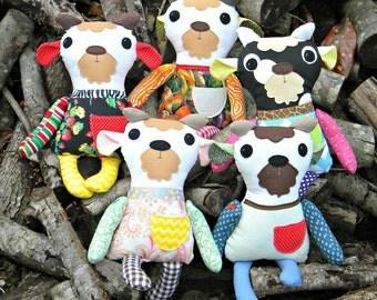 """Goat Fabric Softie Doll, 16"""" tall, Handmade on the Farm"""