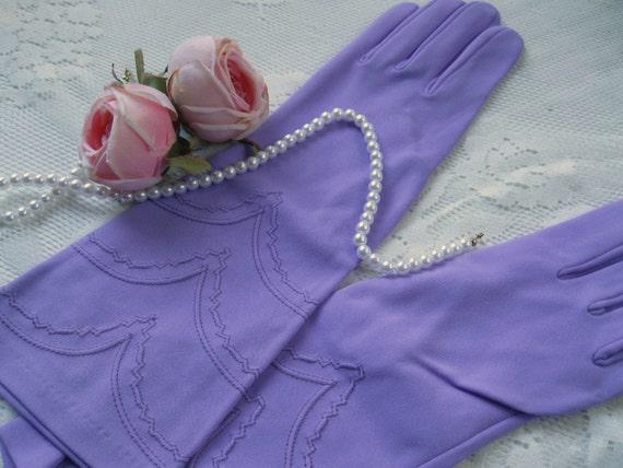 Vintage Gloves, Lavender, Long, Finger, Special Occasion, Bridal, Wedding, by mailordervintage on etsy