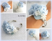 Wrist Corsage, Blue, Dusty Blue, White, Corsage, Mother of the Bride, Cuff, Bridal, Bridesmaids, Chiffon, Crystals, Pearls, Vintage Style