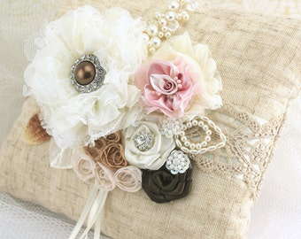 Ring Bearer Pillow, Ivory, Cream,Chocolate,Brown,Blush, Pink,Linen Pillow,Shabby Chic,Elegant Wedding, Lace, Pearls, Crystals, Vintage Style