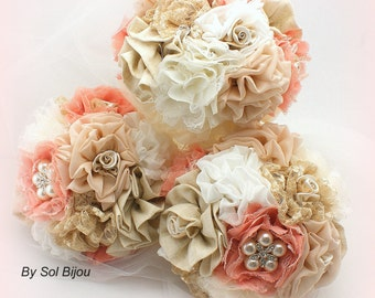 Bridesmaids Bouquets, Coral, Tan, Ivory, Brooch Bouquets, Maid of Honor, Lace, Linen, Burlap, Crystals, Pearls, Elegant, Vintage