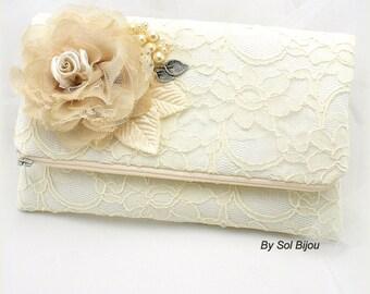 Lace Clutch, Ivory, Tan, Beige, Champagne, Vintage Wedding, Wedding Clutch, Bridal Clutch, Bridesmaids, Elegant Wedding, Handbag, Bag