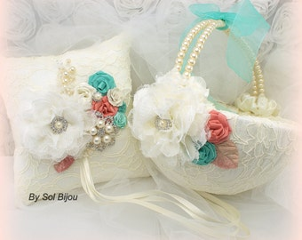 Ring Bearer Pillow, Flower Girl Basket, Ivory, Coral, Turquoise, Aqua, Blue,Wedding, Lace, Pearls, Brooch, Crystals, Vintage Style