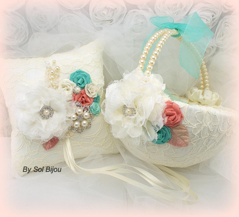 Vintage Flower Girl Basket And Ring Bearer Pillow : Ring bearer pillow flower girl basket ivory coral