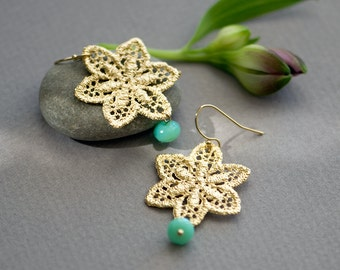 Metal lace earrings, mint earrings, Gold and mint earrings, star earrings, aqua and Gold, dangle earrings, bridesmaids earrings, Unique
