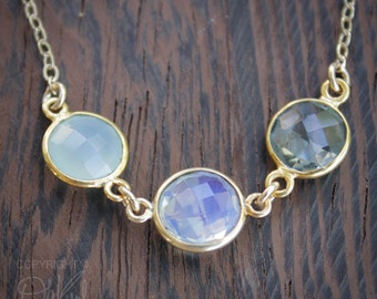 Aqua Chalcedony, Opalite, and Crystal Quartz Necklace - 14K Gold Fill