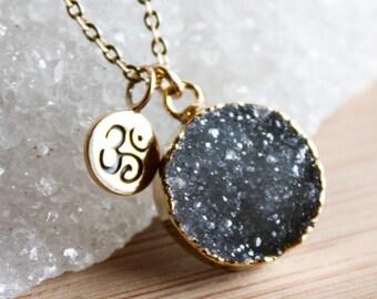 Gold Black Druzy and Ohm Charm Necklace - 14K GF - Yoga Jewelry, Zen