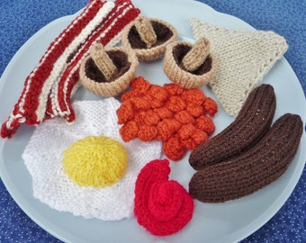 KNITTING PATTERN All Day Breakfast pretend play food