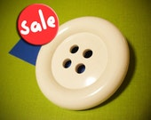 Giant White Button Brooch