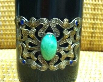 Couture Horn Cuff Bracelet  With Antique Art Nouveau Decoration